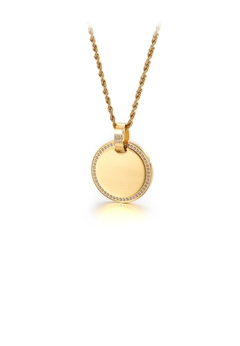 Glamorousky white Simple and Fashion Plated Gold Geometric Round 316L Stainless Steel Pendant with Cubic Zirconia and Necklace B5169ACF46E7AAGS_1