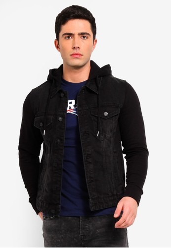 Only & Sons black Coin Denim Hoodie 1800AAAE42FE7CGS_1