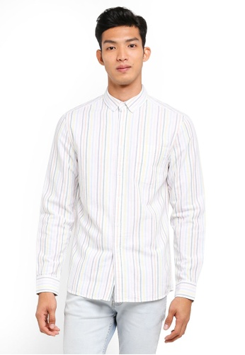 Topman white White Multi Stripe Long Sleeve Shirt F657AAAA3C63FBGS_1