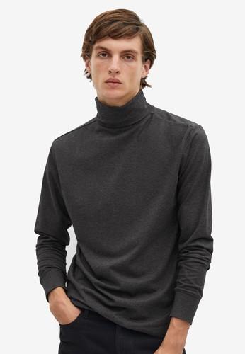MANGO Man grey Turtleneck Cotton T-Shirt 9FB1CAA4E3D9F2GS_1