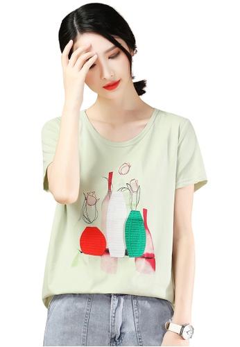 A-IN GIRLS green Fashion Round Neck Printed T-Shirt 363EDAAEF631FEGS_1