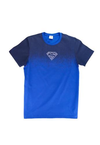 Superman DC Comics blue Men's Logo Outline Ombré Graphic T-shirt 44F27AA8AD0B8FGS_1