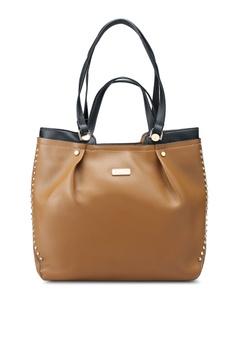 864de6e718 Unisa brown Colour Block Faux Leather 2-Way Usage Top Handle Bag  37E1DACC52EE75GS 1
