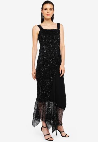 AfiqM black Midi Sequin Dress 3140EAA1BDA35CGS_1