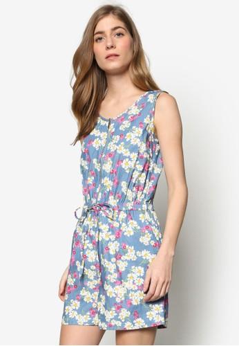 Helaine 花卉印花無袖連身褲, zalora 心得服飾, 服飾