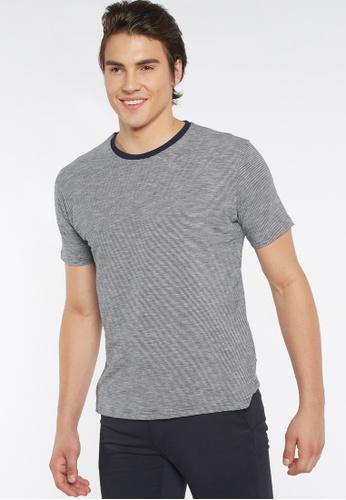 Août white and navy Août - Mens Essential Striped Crew Neck Cotton T-shirt 511DAAAA83D6DCGS_1