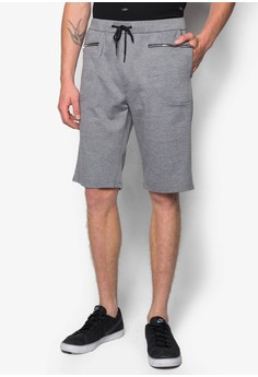 Patch Zipper Pocket Sweat Shorts