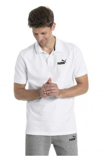 puma white Essential Short Sleeve Men's Polo Shirt B3AB1AA455CF40GS_1