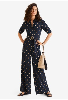 05a409ba54c Mango blue and navy Polka Dot Long Jumpsuit B558CAA9417152GS 1