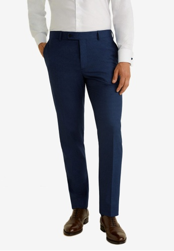 Mango Man 藍色 修身西裝褲 81634AA3CFE775GS_1