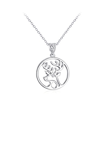 Glamorousky white 925 Sterling Silver Fashion Simple Elk Geometric Round Pendant with Cubic Zirconia and Necklace 4BE91AC57C9931GS_1