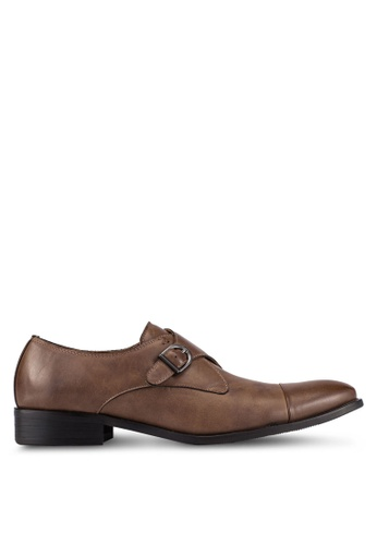 ZALORA 褐色 Faux Leather Single Monk Strap Dress Shoes D02A1AAA7681F1GS_1
