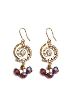 lique Fashion Amethyst Gold Swirl with Charm Earrings Valentine