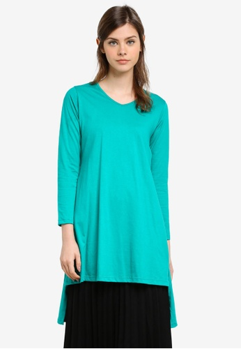 Aqeela Muslimah Wear green Side Slit Fishtail Top AQ371AA0S4WVMY_1