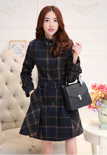 c50326e6d0d2 Sunnydaysweety blue 2016F W Korean Women s Checkered Long-sleeved Dresses  Au11177 SU443AA84HITHK 1