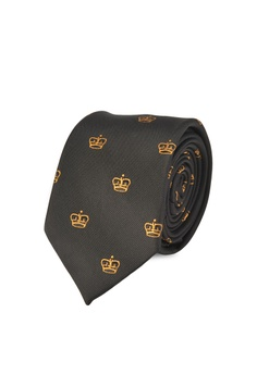 ff04a9e9bd1c Burton Menswear London black Black and Gold Crown Tie 09992ACD24E00DGS_1