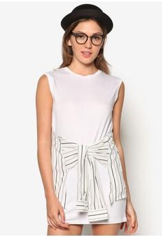 Illusion Shirt Tie-Waist Dress