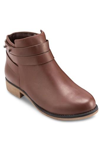 鉚釘zalora 心得飾纏繞帶短靴, 女鞋, 靴子
