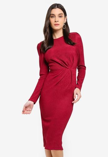WALG red Long Sleeve Midi Dress D8FBBAA7EBE329GS_1