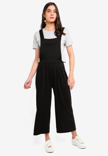 OVS black Crop Playsuit In Stretch Blend 036D1AA543EA30GS_1