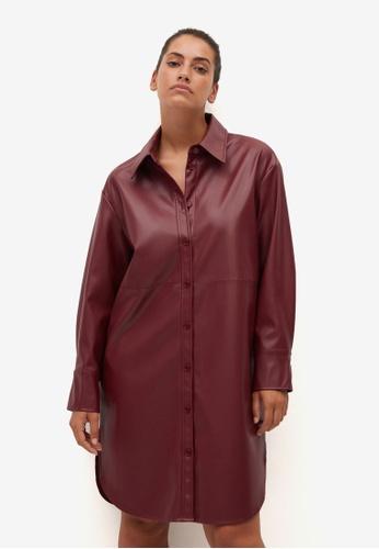 Violeta by MANGO red Plus Size Faux-Leather Shirt Dress F0A2DAAC416B3BGS_1