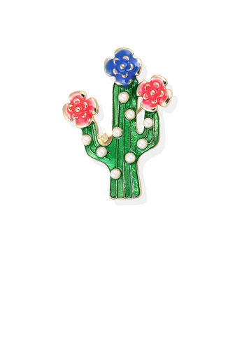 Glamorousky white Simple and Cute Plated Gold Cactus Flower Brooch with Imitation Pearls EF553AC3DAA864GS_1