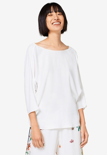 ESPRIT white 3/4 Woven Sleeve Blouse 6E93FAA2390D4DGS_1