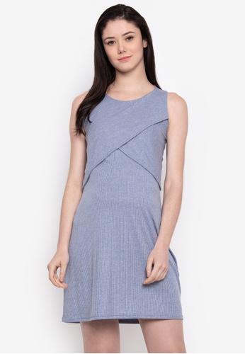 20a71cd89d269 Great Expectations blue Nursing V-Neck Ruffled Cold-Shoulder Shift Dress In  Embossed Jersey