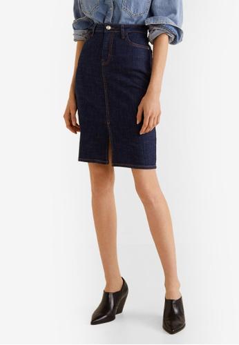 Mango blue Slit Denim Skirt AD64FAA82E8691GS_1