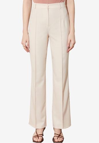 Trendyol beige High Waist Straight Cut Trousers 42E12AACF44A0FGS_1