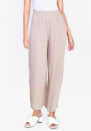 ZALORA BASICS beige Paperbag Straight Leg Pants 5871FAA5A1387EGS_1