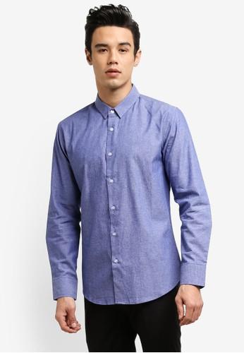 ZALORA blue Slim Fit Chambray Long Sleeved Shirt 53087ZZ145B742GS_1