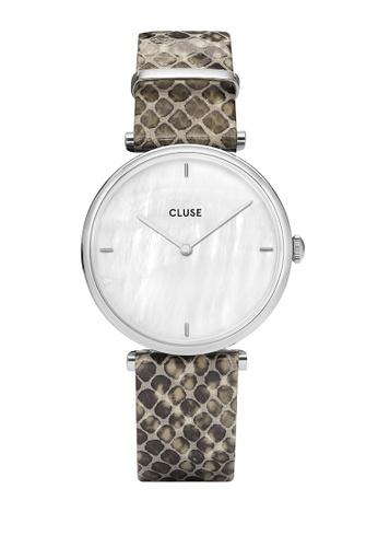 CLUSE 銀色 Triomphe 銀 白色 珍珠/Soft 灰色 Python 手錶 D8D30ACC47FF51GS_1