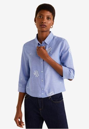 Mango blue Embroidered Detail Shirt D3416AA1A582F1GS_1