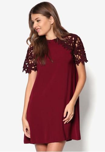 蕾絲拼袖連身裙, 服zalora 手錶 評價飾, 服飾