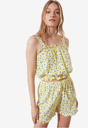Trendyol 黃色 印花睡衣組 B534BAA0F97935GS_1