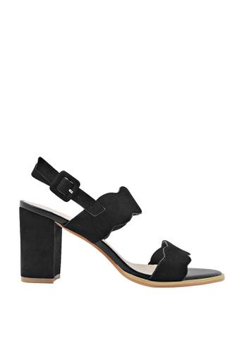 CO BLANC black CO BLANC Dual Strap Slingback Scalloped Sandals 42EFFSH48C4EC0GS_1