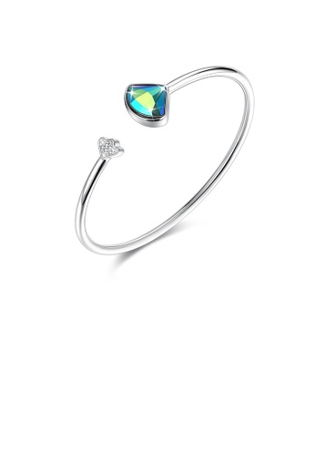 Glamorousky blue 925 Sterling Silver Scalloped Bangle with Blue Austrian Element Crystal 93C94ACCE64584GS_1