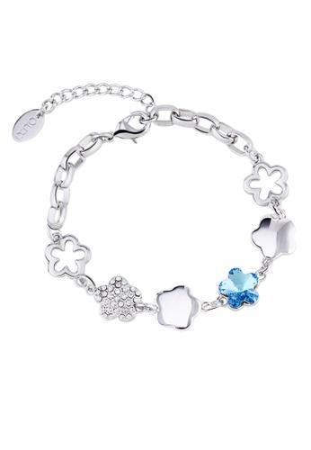 OUXI blue and silver OUXI Plum Blossom Bracelet (Aquamarine) OU821AC35TMYMY_1
