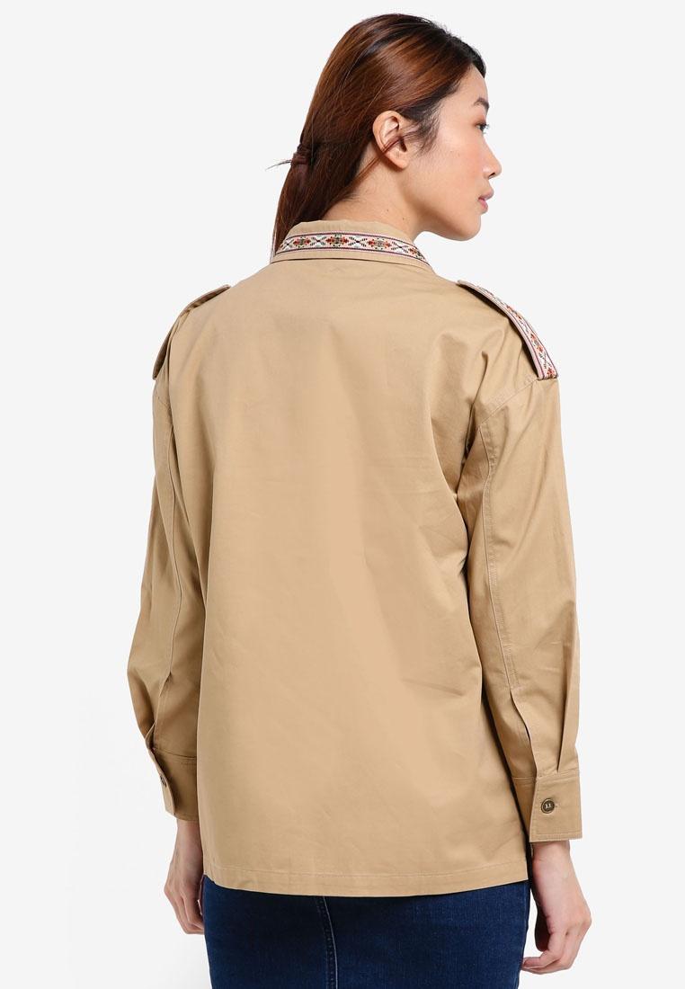 Khaki Embellished Something Utility Pieced Borrowed Sand Light Shirt R4aqzHB