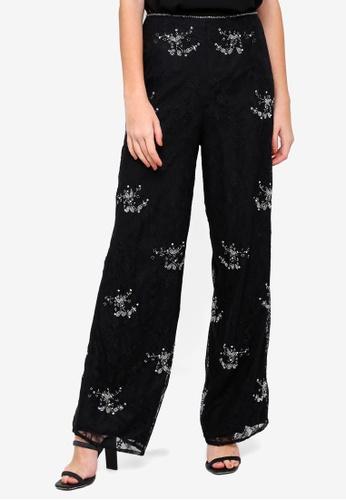 Miss Selfridge black Lace Embellished Trousers 976A3AA079D2EDGS_1