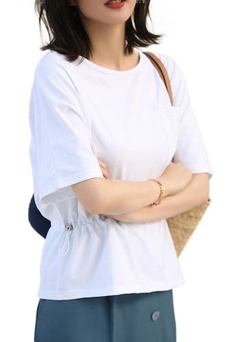 Sunnydaysweety white Korean Style Round Neck Blouse With Drawstring Waist Top A21031203W 011B0AA029BF5EGS_1