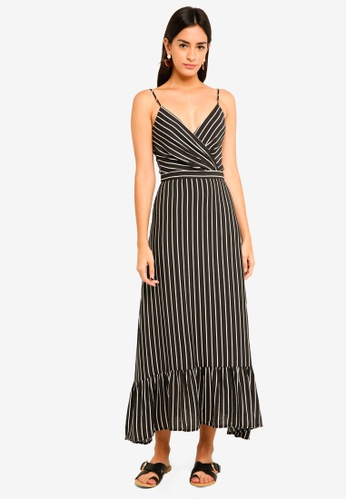 MDSCollections multi Wrapped Maxi Dress In Black Stripes E2C7DAAC5FE064GS_1