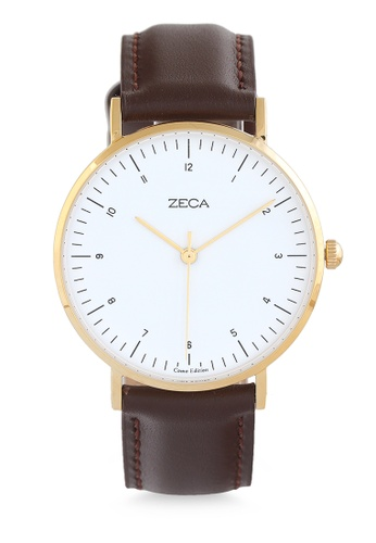 ZECA gold and brown Zeca Watches Couple Men Fashion Leather Analog - 3007M Brown Gold 1C15DAC5F69DA0GS_1