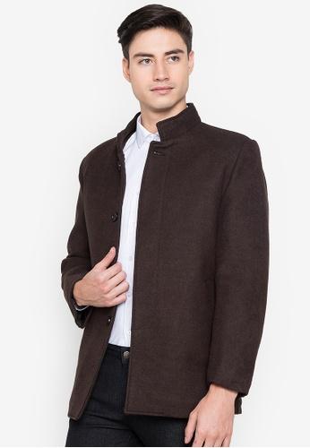 Well Suited brown Stand Collar Winter Woolen Coat 161EBAAE2EBD7BGS_1
