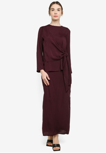 ZALIA BASICS purple Side Draped Top With Skirt Set B3627AA0B13C63GS_1