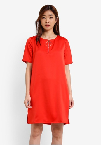 ZALORA red Zipped Shift Dress 6678BZZ03B68A5GS_1