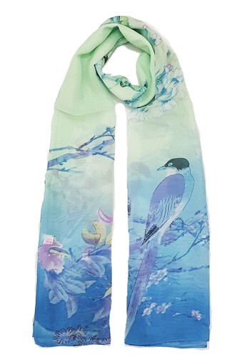 San Marco green and multi Magpie Silk-Feel Scarf Mint Green B9F61AAB271EE3GS_1