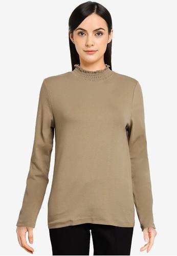 LOWRYS FARM green Ruffle Neck T-Shirt BC09EAA1723618GS_1