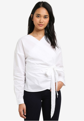 ONLY white Helen Solid Wrap Woven Shirt 4187BAAE803FD4GS_1